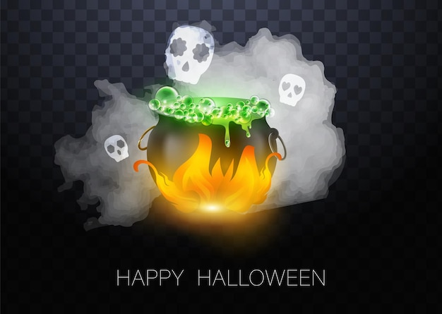 Realistic vector halloween black witch's cauldron with green brew with eyes. happy face halloween pumpkin and cauldron isolated on white background.