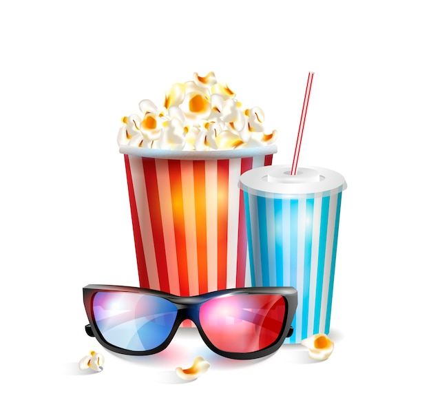 Realistic vector illustration of 3d glasses with popcorn and soda.