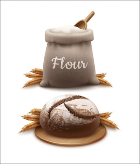 Realistic vector illustration of bread with spikelets and bag of flour with wooden shovel isolated on white background