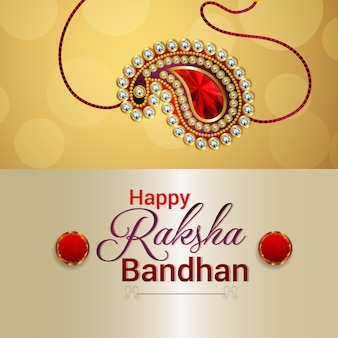 Realistic vector illustration of happy raksha bandhan background