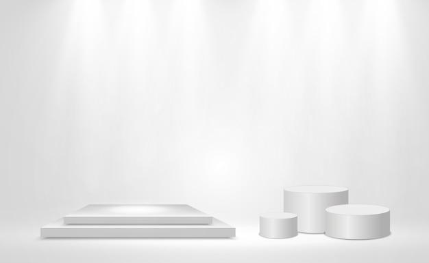 透明な背景に3dプラットフォームのリアルなベクトルイラスト。