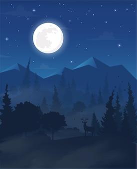 Реалистичные векторные иллюстрации горный пейзаж с лесными оленями в тумане