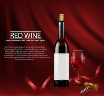 Realistic vector illustration. poster with glass wine bottl and glass with red wine