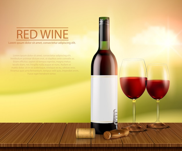 Realistic vector illustration, poster with glass wine bottl and glasses with red wine