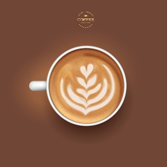 Realistic vector isolated white cup of coffee latte tulip,  top view.