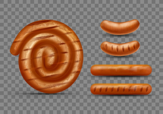 Realistic vector of meat grill sausages set