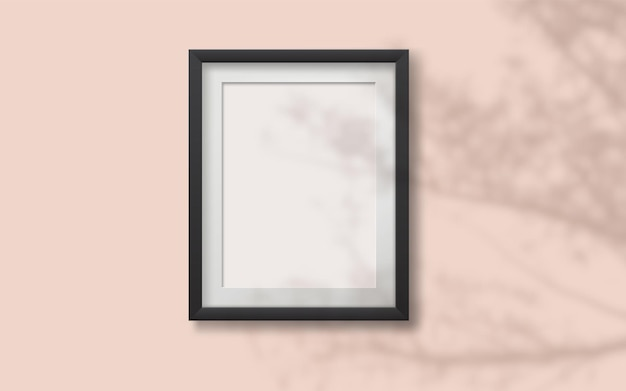 Realistic vector mockap with photo frame with shadow on the wall  and empty place for your design.   overlay shadow from plant. realistic soft light effect of shadows and natural lightning.