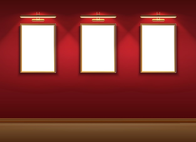 Realistic vector museum room with mock up pictures frames on hanging the red wall.
