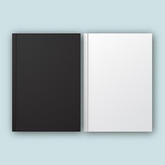 黒と白の現実的なベクトルノートブックセット、本の黒と白の空白のカバーのモックアップ、閉じた縦の本
