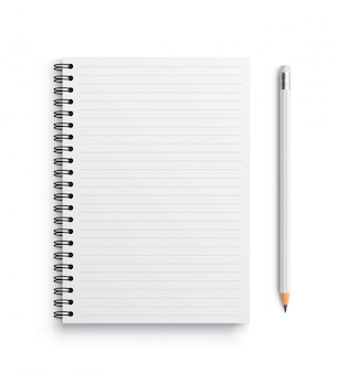 Realistic vector notebook and white pencil.