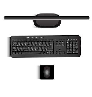 Реалистичный вектор клавиатуры и мыши монитора, если смотреть с верхних реалистичных частей пк