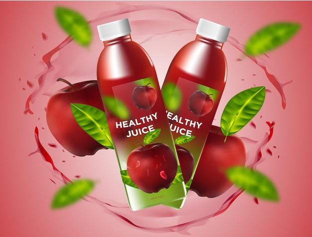 Реалистичный вектор бутылочного яблочного сока с брызгами воды