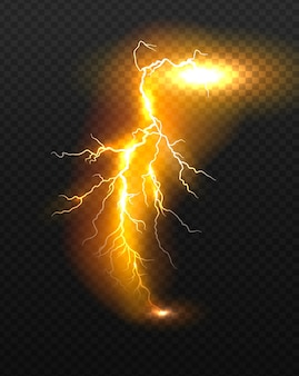 Realistic vector orange lightning.