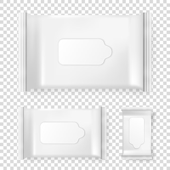 Realistic vector pack of wet wipes icon set isolated on transparent background. vector design template for branding. closeup design template, mockup, eps10 illlustration.