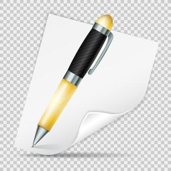 透明な背景に分離されたリアルなベクトルペンとカールした紙のシート