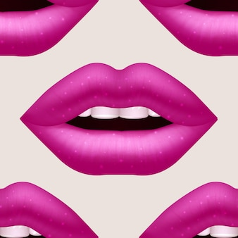 Realistic vector pink woman lips seamless pattern