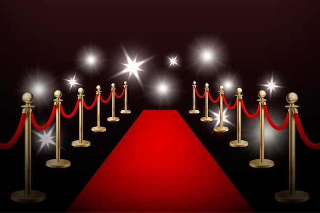 Realistic vector red event carpet , gold barriers and flashes. design template, eps10 illustration.