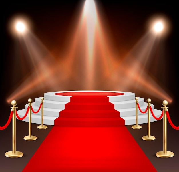 Realistic vector red event carpet, gold barriers and white stairs isolated on white background. design template, clipart. eps10 illustration.