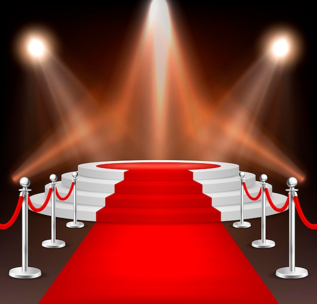 Realistic vector red event carpet, silver barriers and white stairs isolated on white background. design template, clipart. eps10 illustration.