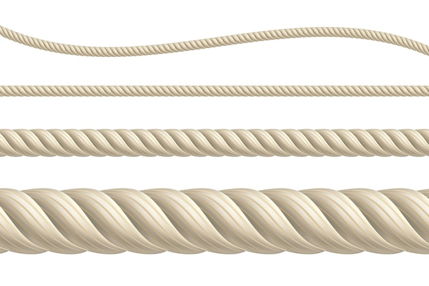 Realistic vector ropes isolated realistic brown ropes set thick thin straight and wavy cord