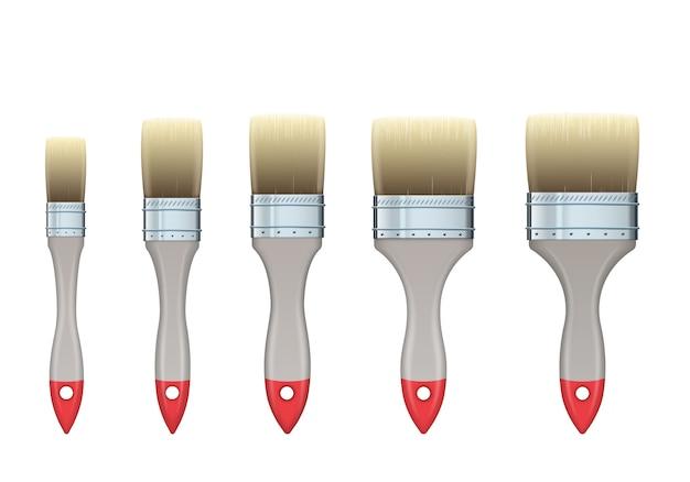 Реалистичные вектор набор деревянных плоских строительных кистей различной ширины.