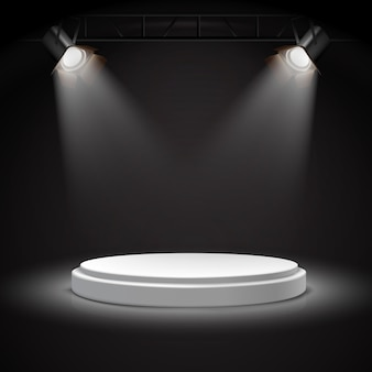 Realistic vector spot lights on round white podium in the darkness.