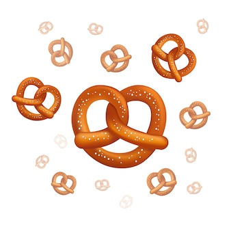 Realistic vector tasty pretzels on the white background