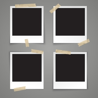 Realistic vector template empty photo frame with adhesive tape on grey background