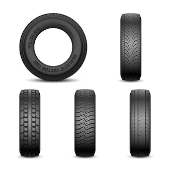 Realistic vector tires with different tread marks