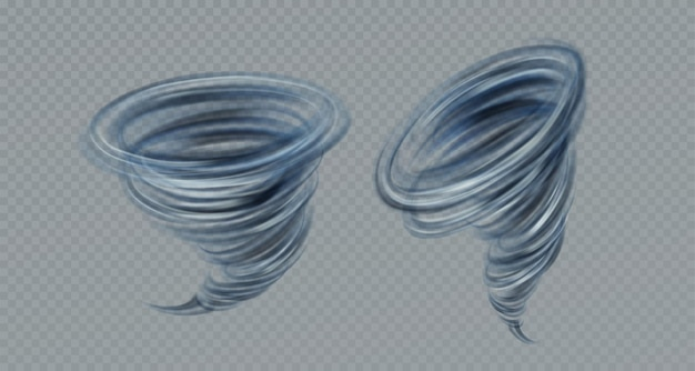 Realistic vector tornado swirl isolated on gray background. real transparency effect. vector illustration eps10