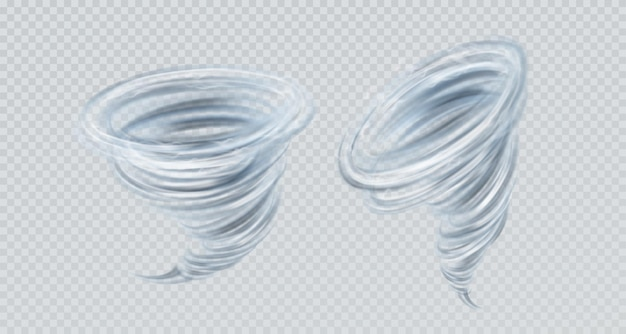 透明な背景に分離されたリアルなベクトル竜巻渦巻き