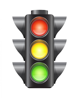Реалистичные векторные светофоры для автомобилей