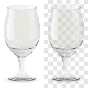 リアルなベクトル透明ビアグラス。アルコール飲料ガラスアイコン3dイラスト