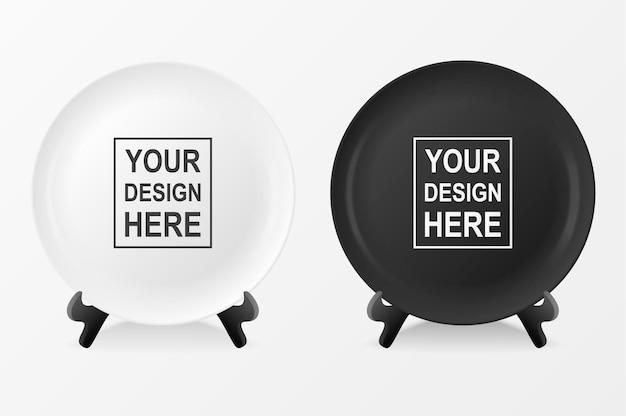 現実的なベクトル白と黒の食品皿プレートアイコンは、白い背景で隔離のスタンドのクローズアップに設定します。デザインテンプレート、グラフィックス、印刷などのモックアップ。