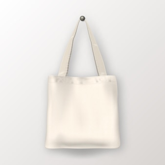 Realistic vector white empty textile tote bag. closeup isolated on white background. design template for branding, mockup. eps10 illustration.