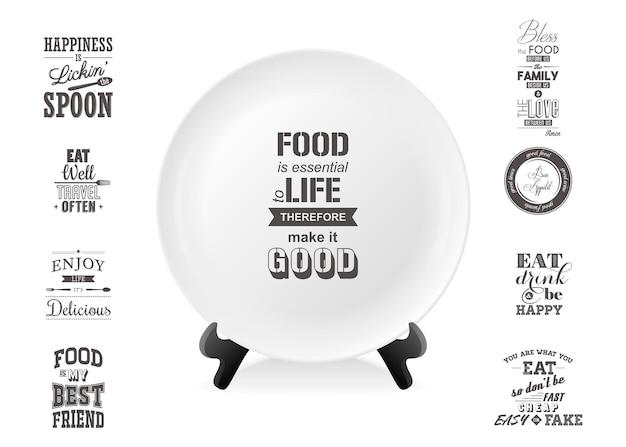 白い背景で隔離の食品セットのクローズアップについての引用とスタンド上の現実的なベクトル白い食品皿プレート。デザインテンプレート、グラフィックス、印刷などのモックアップ。