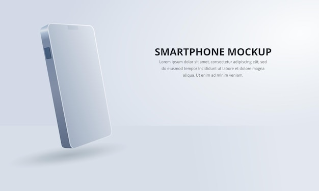 Реалистичный вектор белый смартфон в минималистском стиле