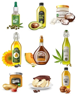 Realistic vegetable oils set