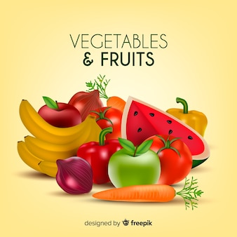 Реалистичные овощи и фрукты фон