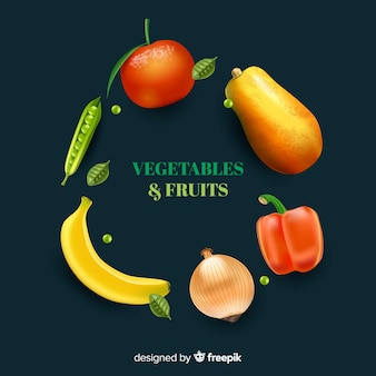 Реалистичные овощи и фрукты