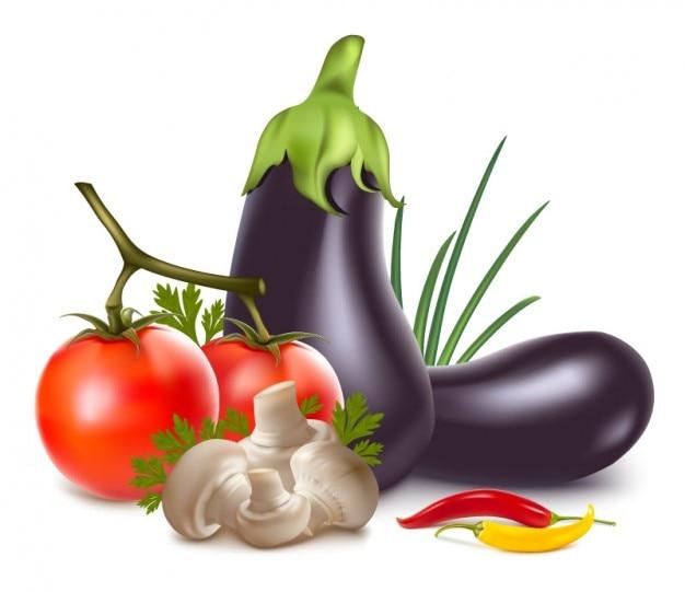 Realistic vegetables arrangement icon vector