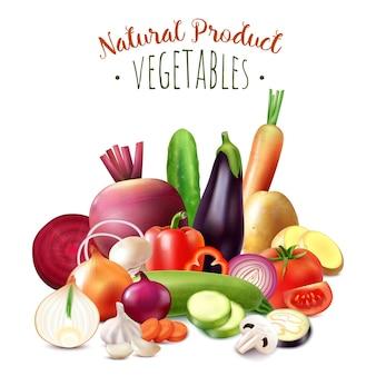 新鮮な有機収穫果物のイラストの華やかなテキストと現実的な野菜の構成