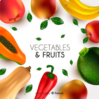 Realistic vegetables and fruits background