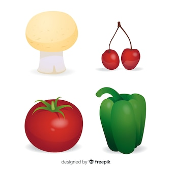 Realistic vegetables and fruits