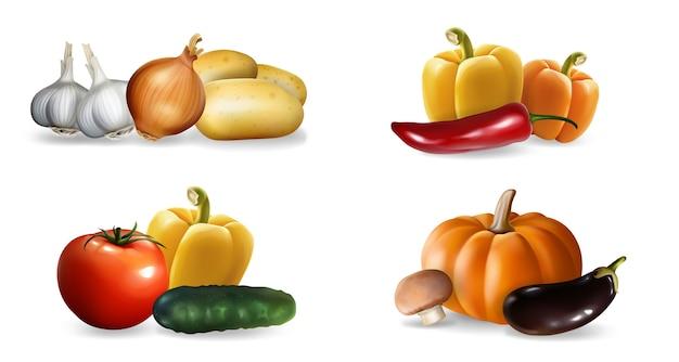 リアルな野菜セット。リアリズムスタイルのドローペッパーポンピングガーリックトマトキュウリエコフードビーガン栄養またはベジタリアンミールメニューテンプレートのコレクション。秋の収穫イラスト。