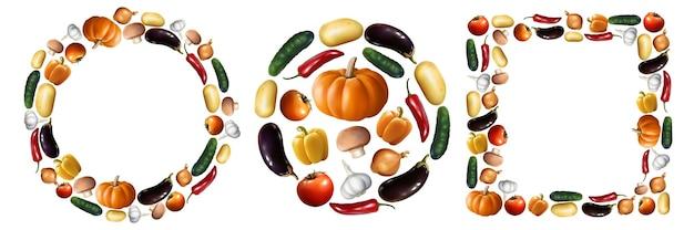 Набор реалистичные овощи. коллекция в стиле реализма, нарисованная перцем, тыквенным томатным огурцом, изолированным в веганском питании круглой квадратной формы или вегетарианской еде. осенний сбор урожая макет иллюстрации.