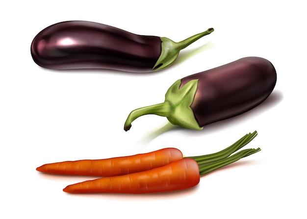 Реалистичные овощи вид сверху иллюстрации