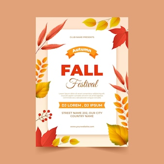Realistic vertical autumn poster template