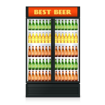 Realistic vertical freezer with transparent closed door and alcoholic drinks