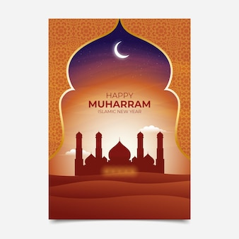 Realistic vertical islamic new year poster template